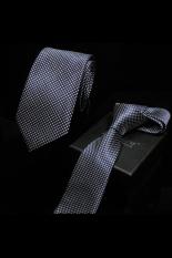 Gracefulvara Fashion Men's Classic Polka Dot Tie Wedding Party Business Jacquard Woven Necktie 148 Cm (Dark Blue)