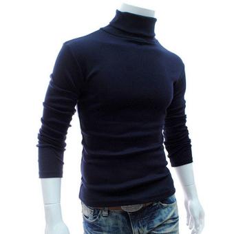 Gracefulvara Pria leher kura-kura kapas termal kaus turtleneck sweater peregangan pelayan kemeja - Biru