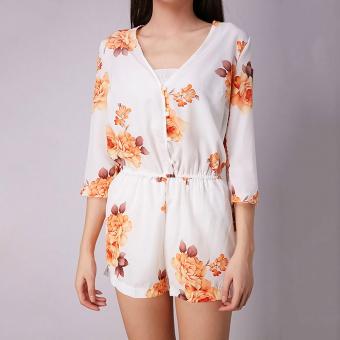 Gracefulvara Wanita Clubwear V-Leher Pakaian Bermain Musim Panas Bodycon Cloth Baju Monyet Celana Partai