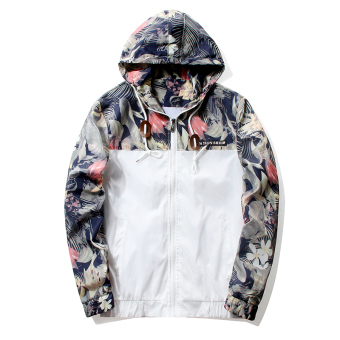 Grandwish Men Floral Printing Jackets Hoodies Slim Bomber Jackets M-4XL (White)