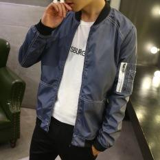 Grandwish Men Pocket Jackets Thin Coat Slim Bomber Jackets Plus Size M-4XL (Grey)