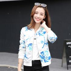 Grandwish Women Floral Print Jackets Baseball Uniform Coat Slim S-2XL (4)