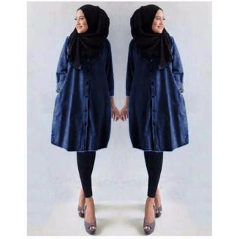 Grateful Tunik Ermina Bahan Semi Jeans - Navy