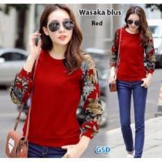GSD-Baju Atasan Blus Motif Bunga- Blus wasabi Red