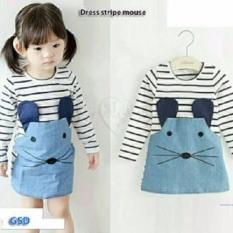GSD-Minidress Anak Cewe-Dress Stripe Mouse Blue
