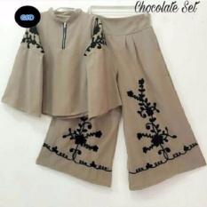 GSD-Setelan Baju Celana Kulot Batik-St Coklat Set