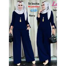 GSD-Setelan Baju Muslim Polos Wanita-Set Levita navy