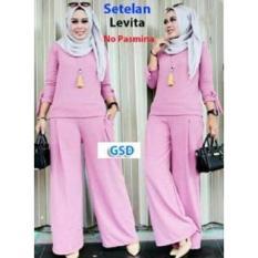 GSD-Setelan Baju Muslim Polos Wanita-Set Levita Pink
