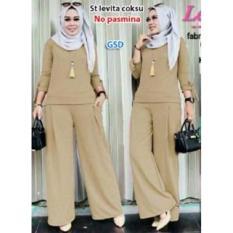 GSD-Setelan Baju Muslim Polos Wanita-Setelan Celana F101 Coksu