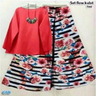 Tosca Daftar Source GSD Setelan Baju Wanita Motif Bunga Set Flow Kulot Benhur .