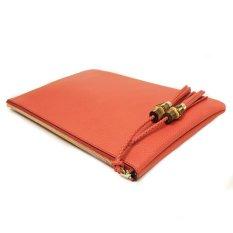 Gucci 376858 Gucci Red Leather Bamboo Braided Tassel Large Clutch Bag ILQ739DZ975 (Intl)