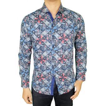 Gudang Fashion - Baju Batik Pria Lengan Panjang - Biru