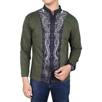 Gudang Fashion - Baju Koko Modern Lengan Panjang - Hijau Lumut