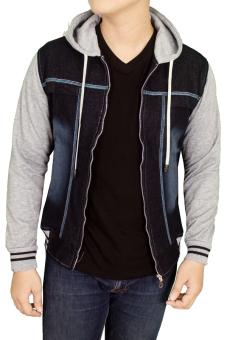 Gudang Fashion - Jaket Jeans Hoodie Denim - Biru Tua