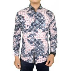 Gudang Fashion - Kemeja Batik Pria Lengan Panjang Eksklusif - Biru Krem