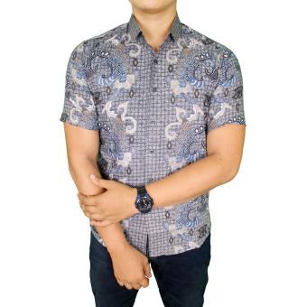 Gudang Fashion - Kemeja Batik Pria Slim - Biru Muda
