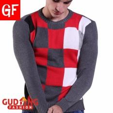 Gudang Fashion - Sweater Pria Bahan Rajut Motif Kotak - Kombinasi Warna