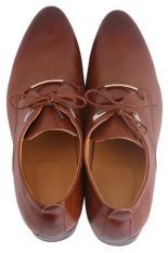Hang-Qiao Men PU Leather Lace Up Cap-Toe Shoes Brown