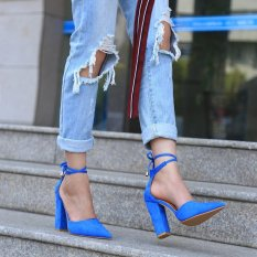 Hang-Qiao Thick Heels Ankle Strap Suede Sandals High-heeled Pointed Pumps (Blue) - intl