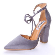 Hang-Qiao Thick Heels Ankle Strap Suede Sandals High-heeled Pointed Pumps (Grey) - intl