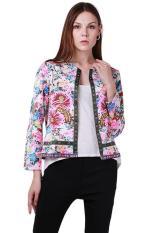 Hang-Qiao Women Floral Long Sleeve Short Coat Jacket Multicolor