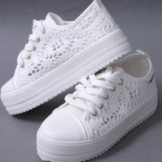 Hang-Qiao Women Lace Hollow Canvas Shoes Breathable Platform Casual Shoes White - Intl