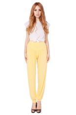 Hang-Qiao Women Loose Pants Yoga Sport Dance Bloomers Yellow