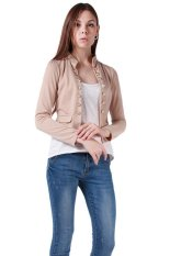 Hang-Qiao Women's New Autumn Slim Jacket Collar Double-breasted Coats Apricot