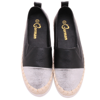 Hanyu High Quality Casual Flat Shoes For Women Leather Loafers Black - Intl