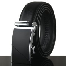 Hanyu Leather Belt With Alloy Automatic Buckle For Men Black Design 4- Intl
