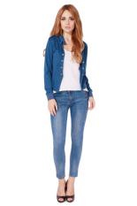 Hanyu Spring Autumn Style Shoulder Strap Women Jacket Short Coat Blue