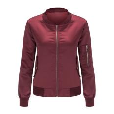 Hanyu Women Ladies Fashion Solid Stand Collar Zipper Patchwork Coat Jackets Wine Red - Intl