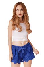 Hanyu Women Short Pants Printed Casual Pants (Blue)
