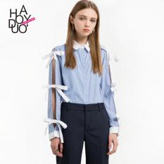 Haoduoyi2017 manis baru temperamen busur kemeja longgar (Biru dan putih garis-garis) (Biru dan putih garis-garis)