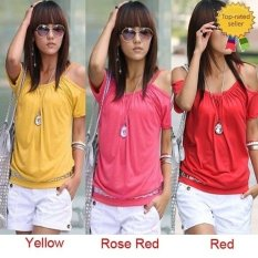 Happycat 2016 New Fashion Women Sexy Casual Round Neck Off Shoulder Short Sleeve Solid T-Shirt-Yellow / Red / Rose Red