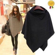 Happycat 2016 New Women Fashion Cape Poncho Cloak Coat Tops Jackets Outwear Overcoats Gray Black-black-L