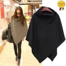 Happycat 2016 New Women Fashion Cape Poncho Cloak Coat Tops Jackets Outwear Overcoats Gray Black-dark Gray-XL