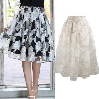 Happycat Fashion Wanita Gadis Bunga Elegan Pola Rok Mini Pendek Gelembung Organza Rok Pinggang Tinggi (