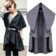 Happycat New Hot Sale Women's Wool Coat Ladies' Noble Elegant Cape / Shawl Poncho Wrap Scarves Coat (Gray) (Regular)