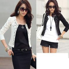Happycat New Women Korean Fashion Lady Long Sleeve Shrug Suits Blazer Short Outerwear Coat Jacket Topdream (Black) (M)