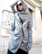 Happycat Stylish Women Casual Long Sleeve Cool Asymmetric Hooded Coat Zipped Jacket (Black) (S)