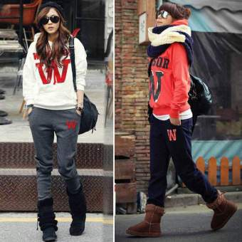 Happycat Women Casual Letter Print Suit Hoodie Sweatshirt Sports Coat Tracksuit (Red) (L) - Intl