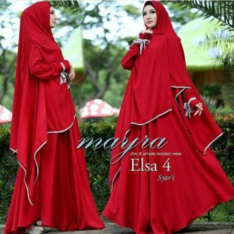 Hasanah Gamis Syari Elsa - Merah - Gamis