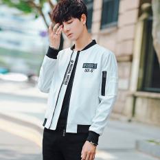 Hdeh2017 Korea Pria Musim Semi dan Gugur bagian tipis bisbol seragam jaket mantel (Putih)