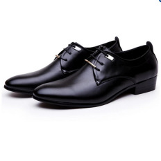HengSong Men PU Leather Lace Up Cap-Toe Business Casual Shoes Black - Intl