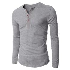 Hequ Men's 3 Button Long Sleeve T-shirt (Grey) (Intl)