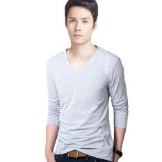 Hequ Men's V Collar Long Sleeved T-shirt (Grey) (Intl)