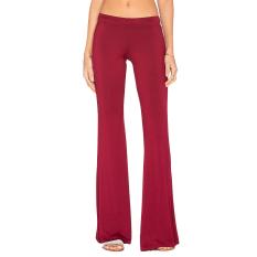 Hequ Women Casual Soft Bell-bottoms Pants Burgundy
