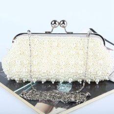 High-Grade Luxurious Women Clutch Box Evening Party Hand Bags Wallet Card Holder Wallet Purse (Beige) - Intl