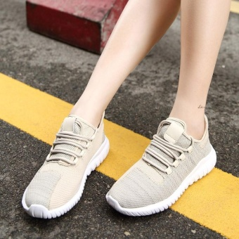 High Quality Fashion Fly Weave Breathable Women Sports Shoes Running Shoes Casual Sneakers(khaki) - intl